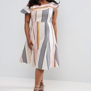 ASOS CURVE color block One Shoulder Ruffle midi 12